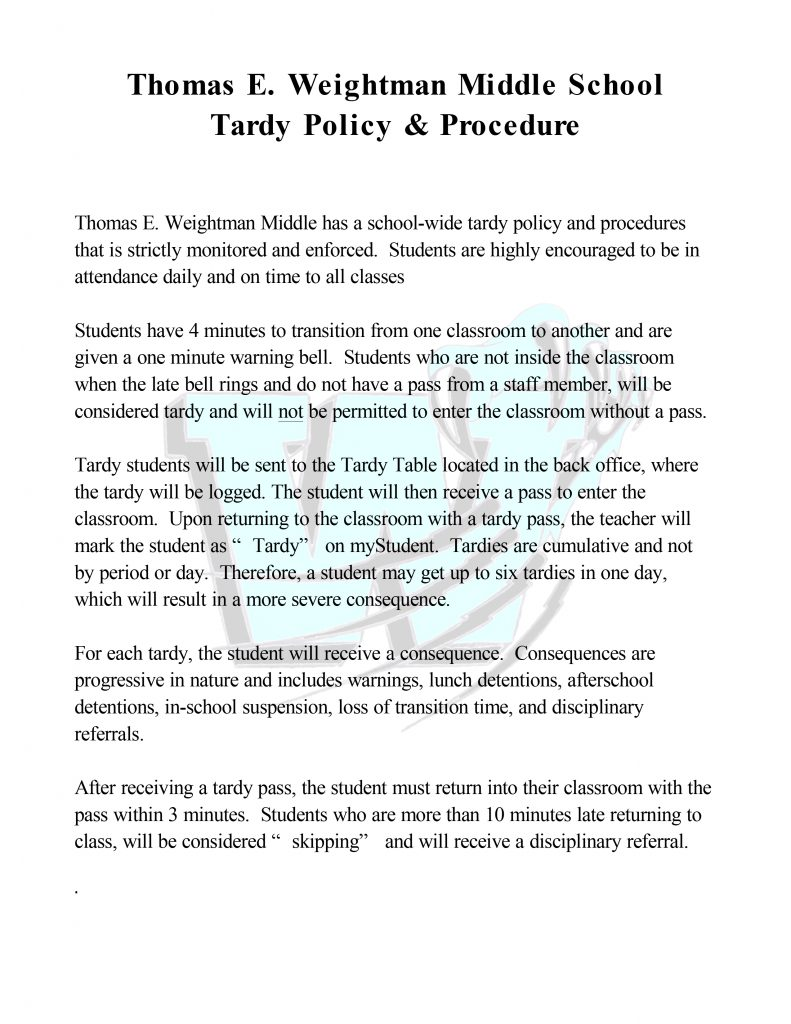 Microsoft Word - TEWMS Tardy Policy.docx